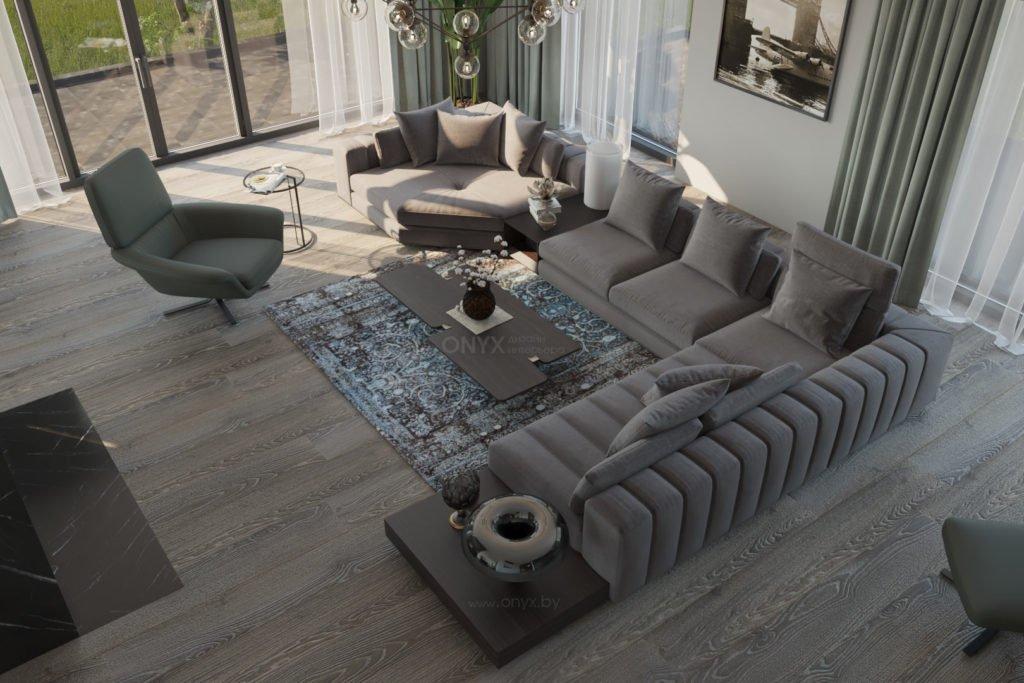 Дизайн интерьера современной гостиной в частном доме