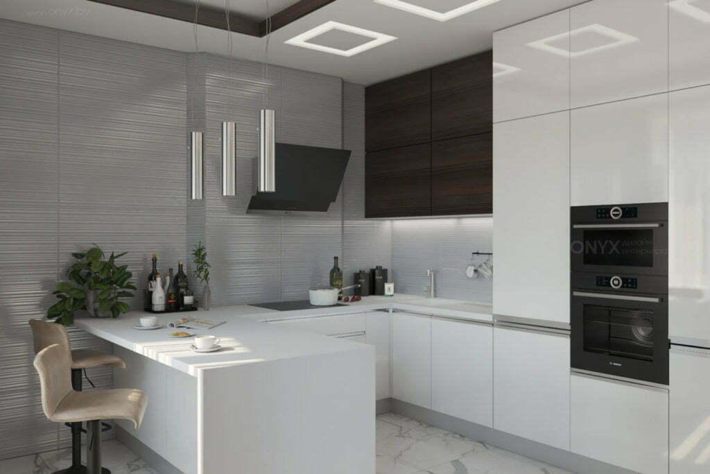 Современная кухня до потолка с барной зоной