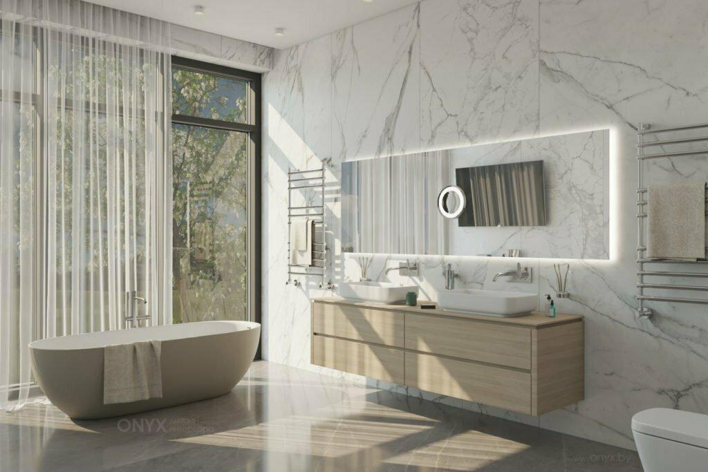 Дизайн интерьера ванной комнаты с окном