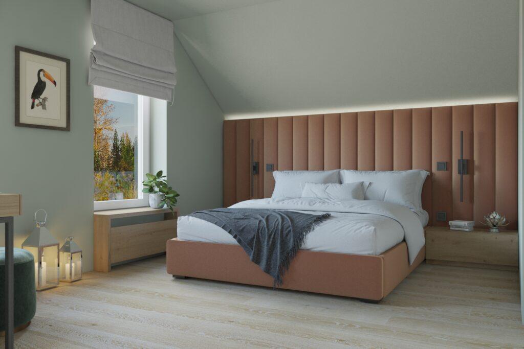 дизайн спальни с мягким изголовьем во всю стену