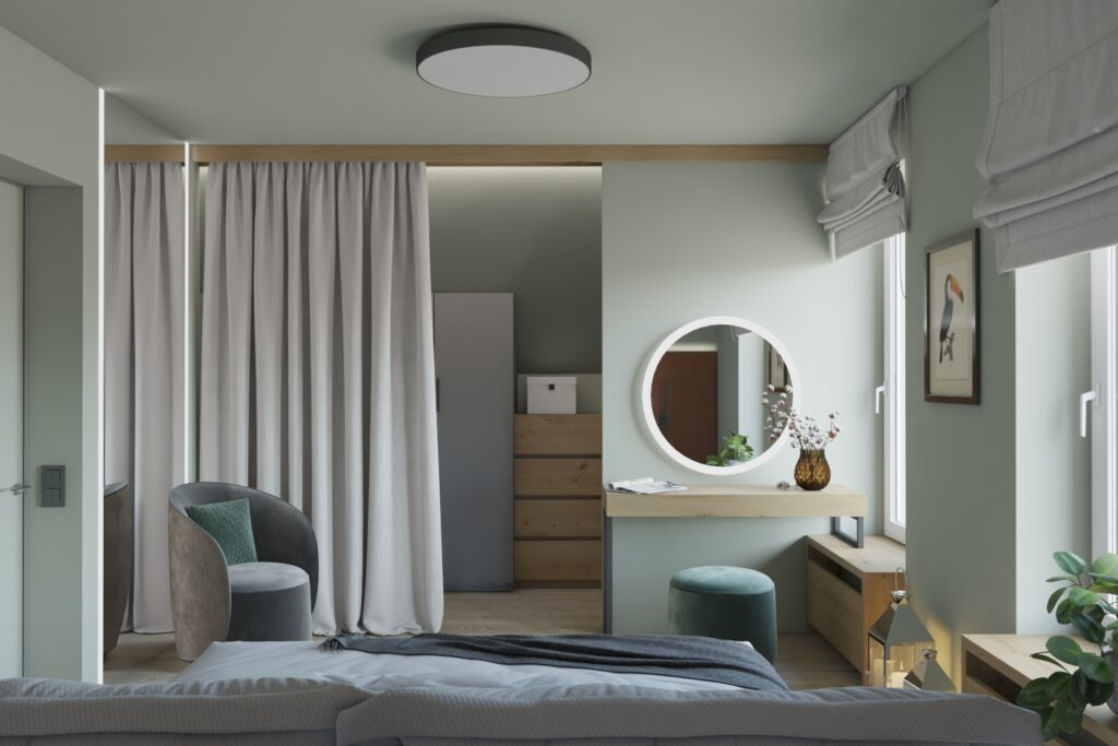 гардероб за шторой