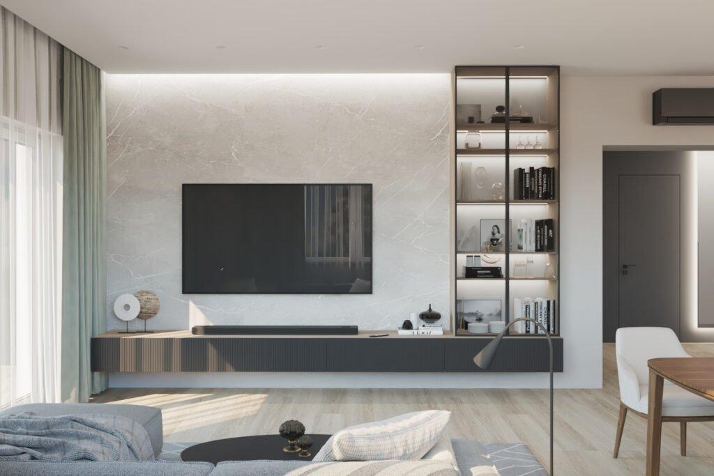 ТВ зона с витриноой в гостиной