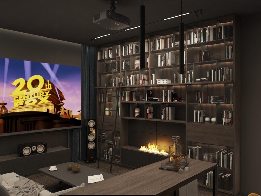 библиотека до потолка в кабинете