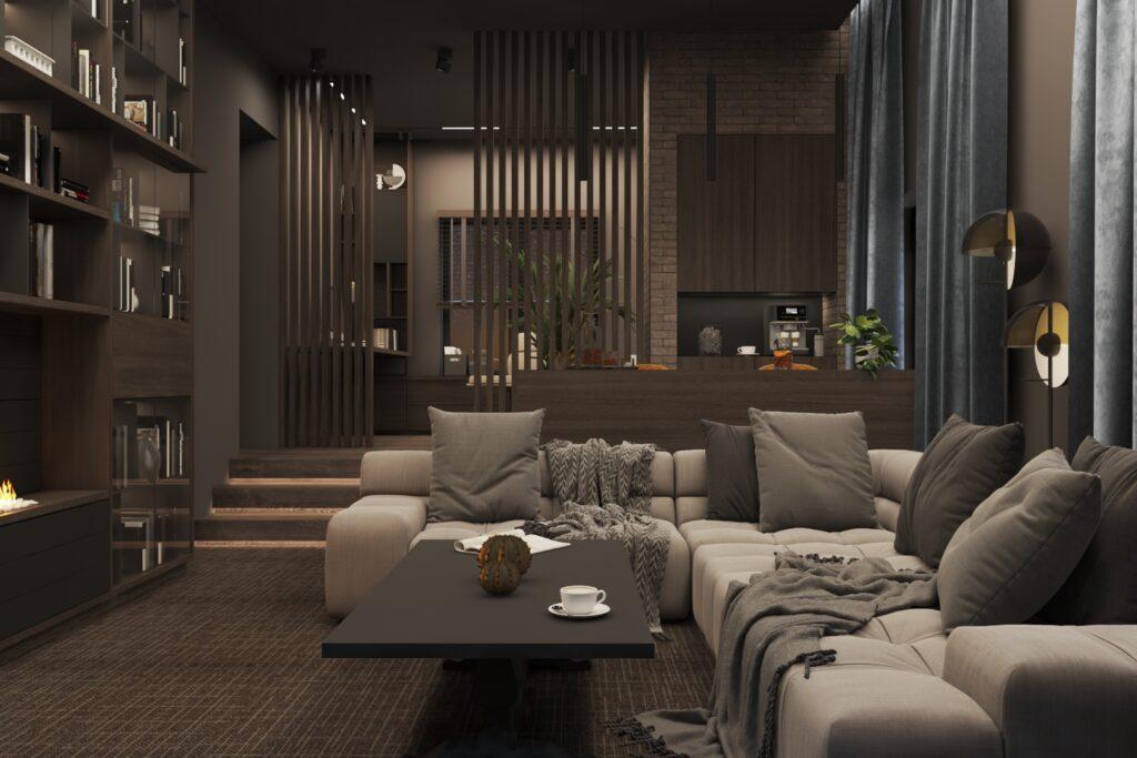 Угловой диван в домашнем кинозале