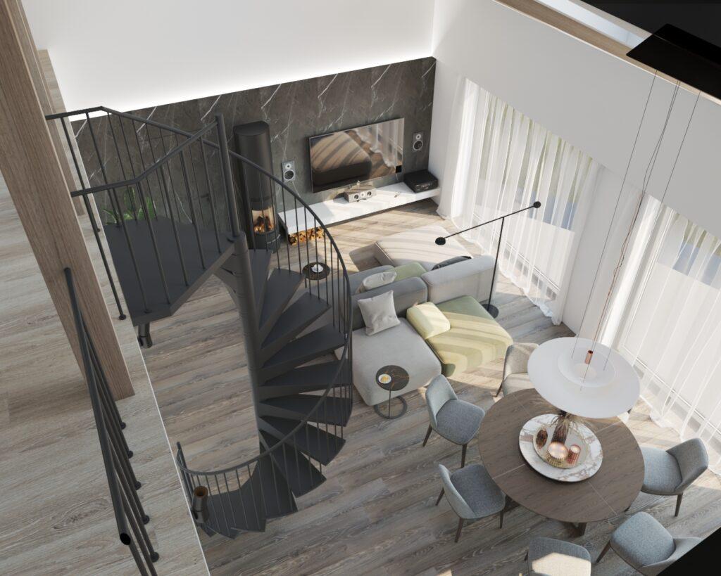 2-х уровневая гостиная с винтовой лестницей